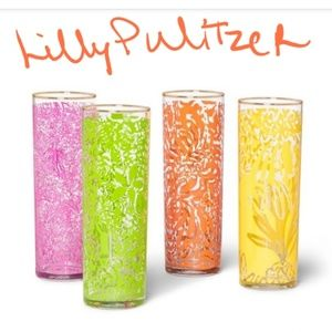 Lilly Pulitzer tumblers, cocktail glass set of 4
